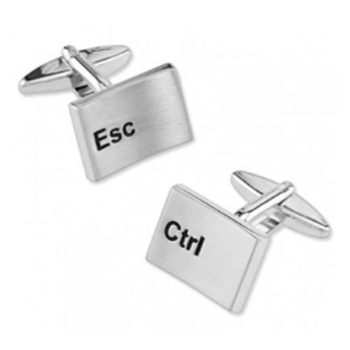 Rhodium CRTL ESC Keyboard Button Cufflinks