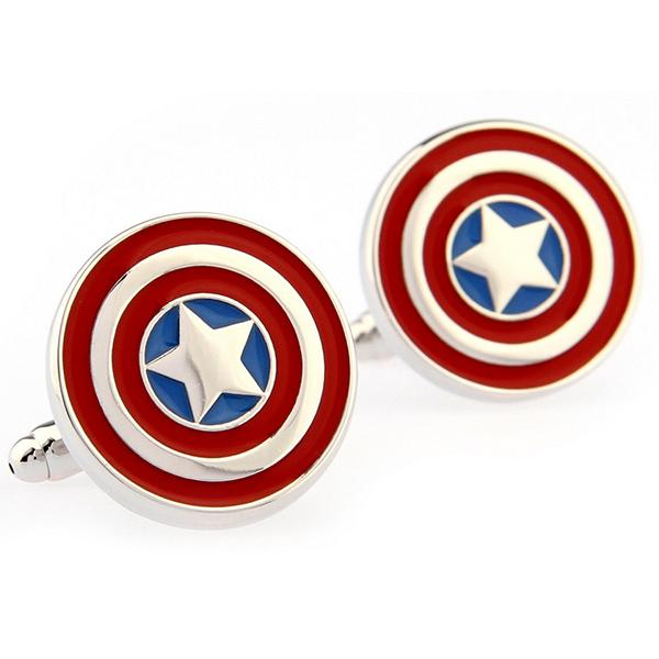 Rhodium Captain America Super Hero Cufflinks