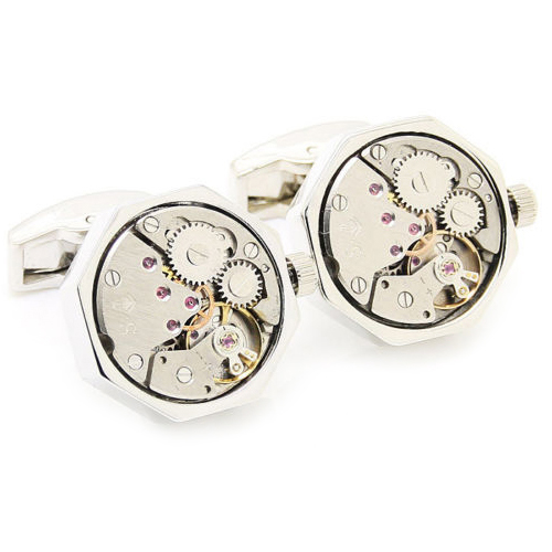 Cufflinks Real Clock Mechanical Moving Gears