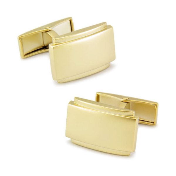 14K Classic Gold Frosted & Polished Cufflinks