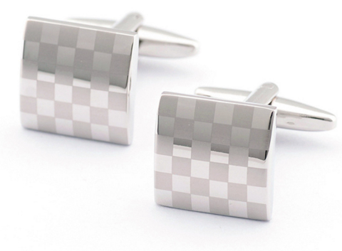 Cufflinks Checkered Flag Square Pattern