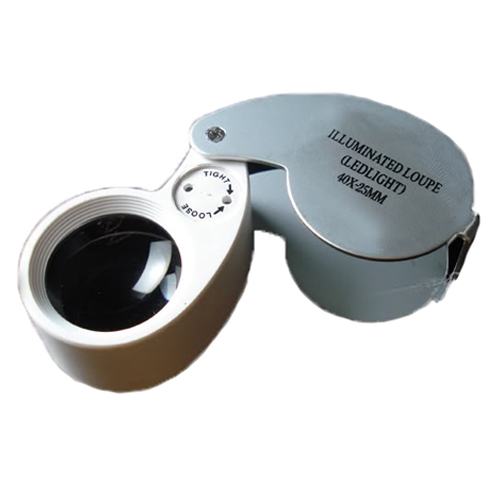Jewelers Loupe 40x 25mm Magnifying Glass w/ LED