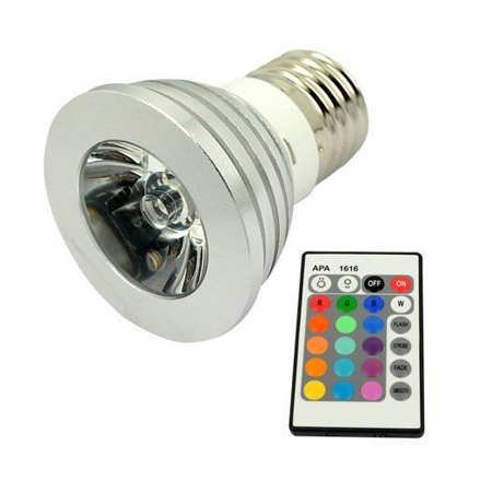 3W LED E27 Bulb Spot Light 16 Color Remote Control RGB