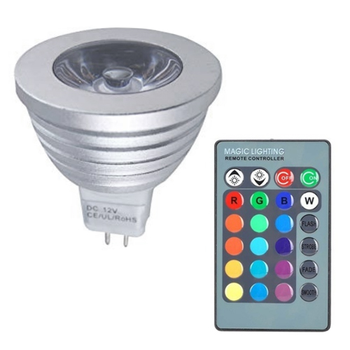 3W LED MR16 Bulb Spot Light 16 Color Remote Control RGB