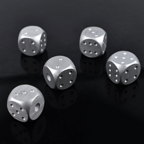 Metal Playing Dice Solid Aluminum Gaming w/ Case 5 Pack