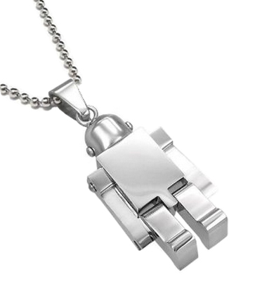 Stainless Steel Robot Necklace Pendant Silver