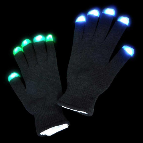 LED Light Show Rave Party Gloves Multicolored Tips Black