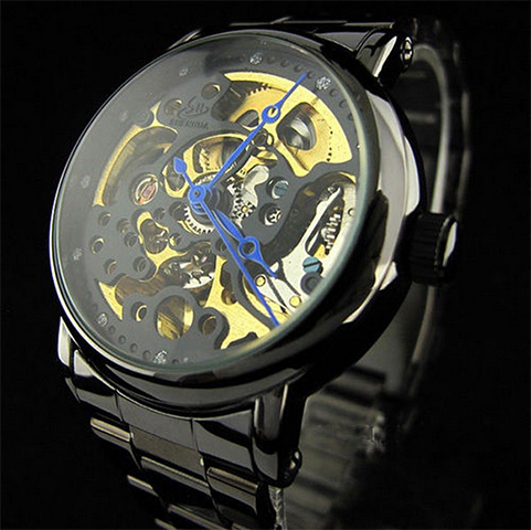 Skeleton Watch Golden Gears Mechanical Black