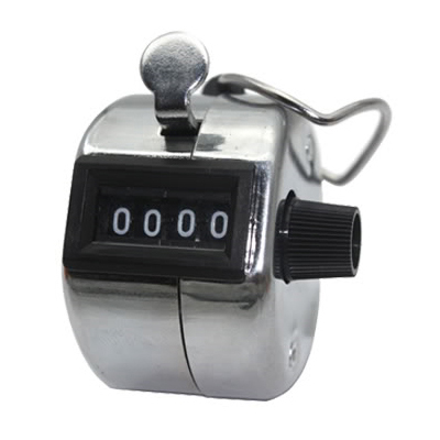 Chrome Hand Tally Counter Clicker 4 digit