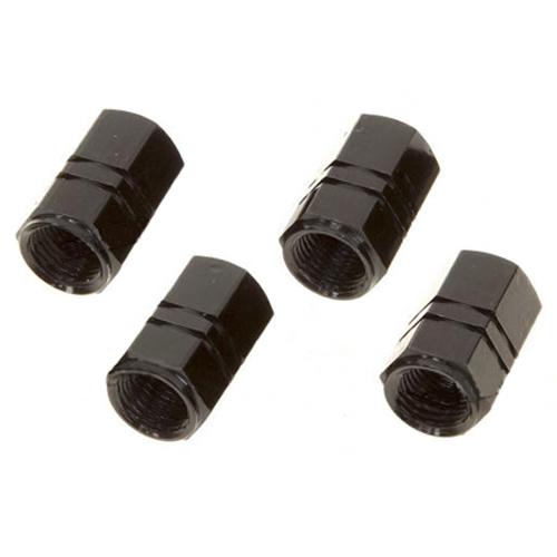 Tire Valve Caps Metal Ionized Black 4pack